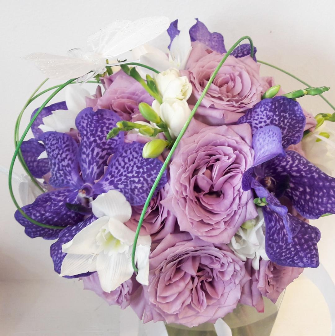 Buchet De Mireasa Cu Trandafir Lila Si Orhidee Vanda Mov Florarie