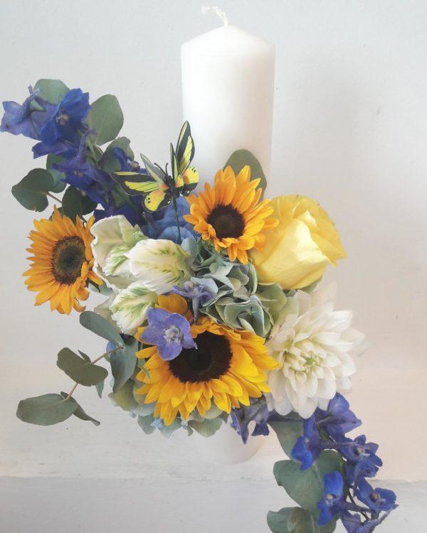 Lumanare Botez Cu Floarea Soarelui Florarie In Constanta